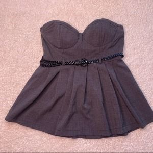 Forever 21 Black Check Strapless Corset Top M